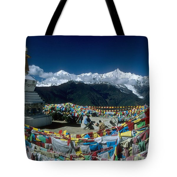 Prayer Flags In The Himalayan Mountains Tote Bag