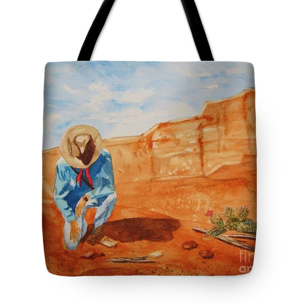 Tote Bag featuring the painting Prayer For Earth Mother by Ellen Levinson