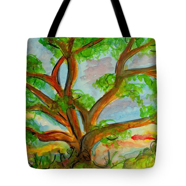 Prayer Mountain Tree Tote Bag