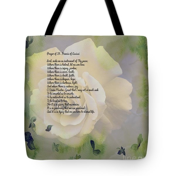 Prayer Of St. Francis And Yellow Rose Tote Bag by Barbara Griffin