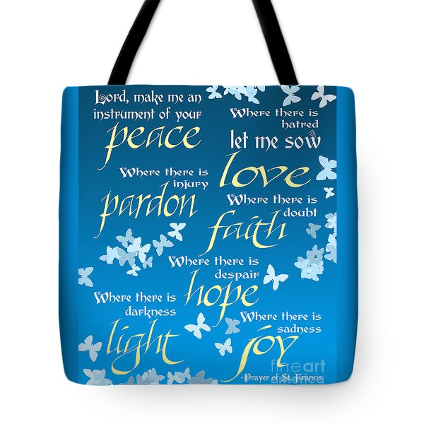 Tote Bag featuring the digital art Prayer Of St Francis - Pope Francis Prayer - Blue Butterflies by Ginny Gaura