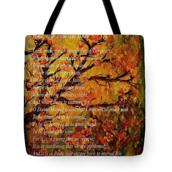 Prayer Of St. Francis Of Assisi  And Cherry Blossoms Tote Bag by Barbara Griffin