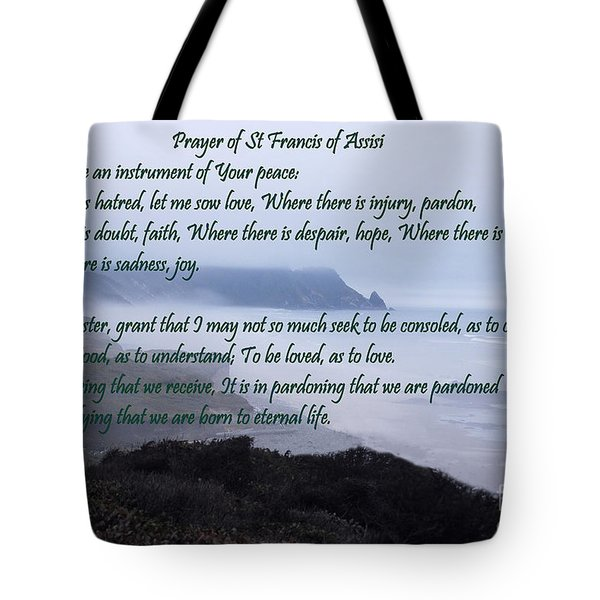 Prayer Of St Francis Of Assisi Tote Bag