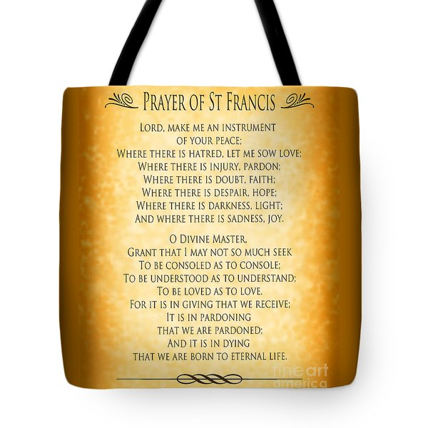 Prayer Of St Francis - Pope Francis Prayer - Gold Parchment Tote Bag