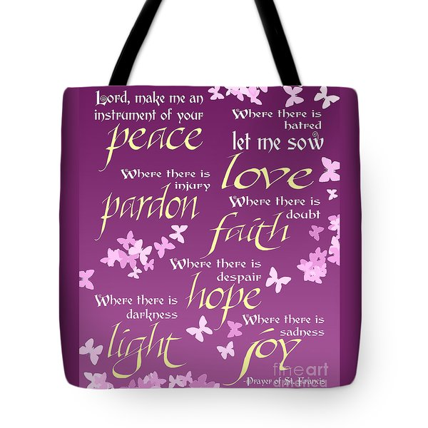 Tote Bag featuring the digital art Prayer Of St Francis - Pope Francis Prayer -radiant Orchid Butterflies by Ginny Gaura