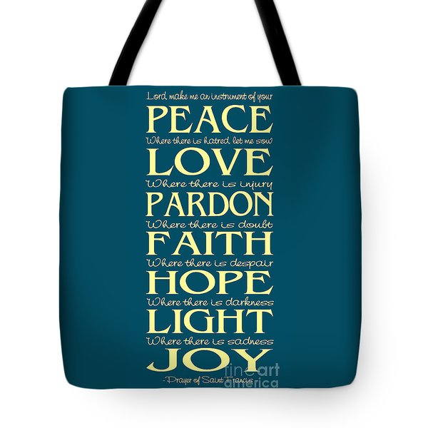 Prayer Of St Francis - Subway Style - Teal And Yellow Tote Bag