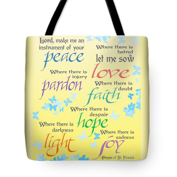 Prayer Of St Francis - Pope Francis Payer -yellow With Butterflies Tote Bag by Ginny Gaura