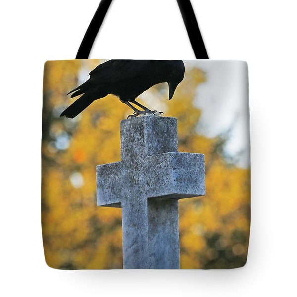 Praying Crow On Cross Tote Bag