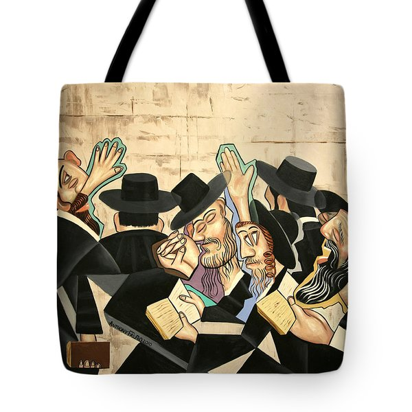 Tote Bag featuring the painting Praying Rabbis by Anthony Falbo