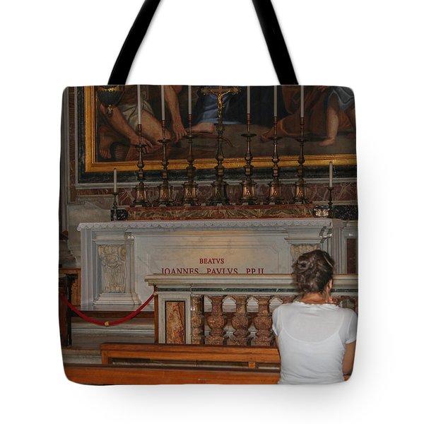 Praying To Pope John Paul II  Tote Bag