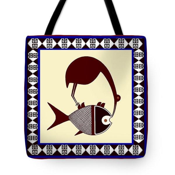 Pre-columbian Stork Fish Tote Bag