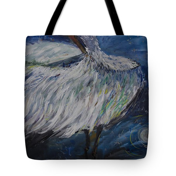 Tote Bag featuring the painting Preening Crane by Avonelle Kelsey