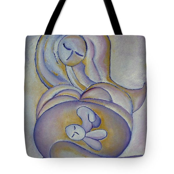 Pregnancy Oil Painting In The Belly Original By Gioia Albano Tote Bag by Gioia Albano
