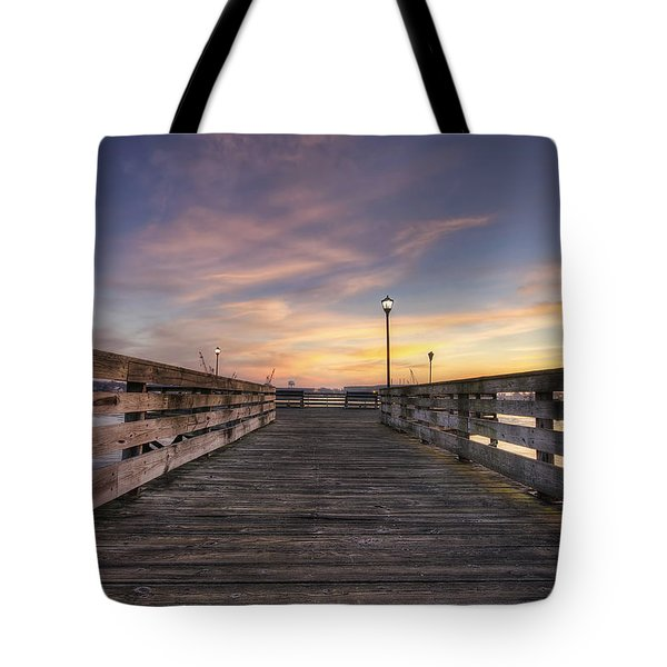 Prescott Park Boardwalk Tote Bag by Eric Gendron