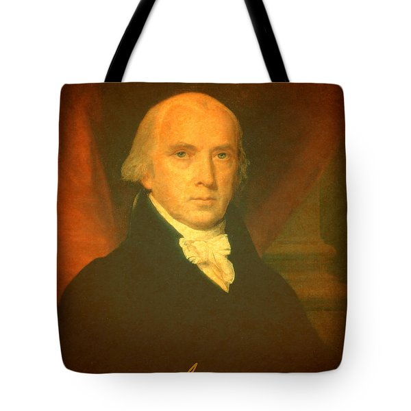 President James Madison Portrait And Signature Tote Bag by Design Turnpike