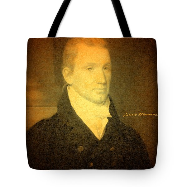 President James Monroe Portrait And Signature Tote Bag by Design Turnpike