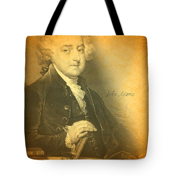 President John Adams Portrait And Signature Tote Bag by Design Turnpike