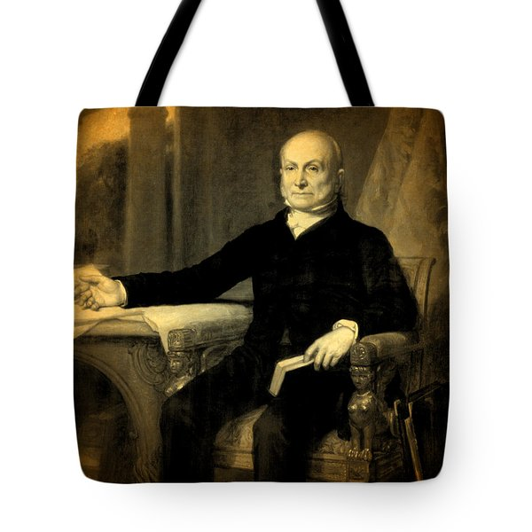 President John Quincy Adams Portrait And Signature Tote Bag by Design Turnpike