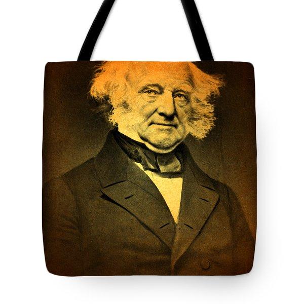 President Martin Van Buren Portrait And Signature Tote Bag by Design Turnpike