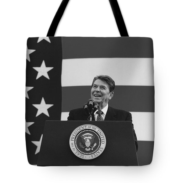 President Reagan American Flag  Tote Bag by War Is Hell Store