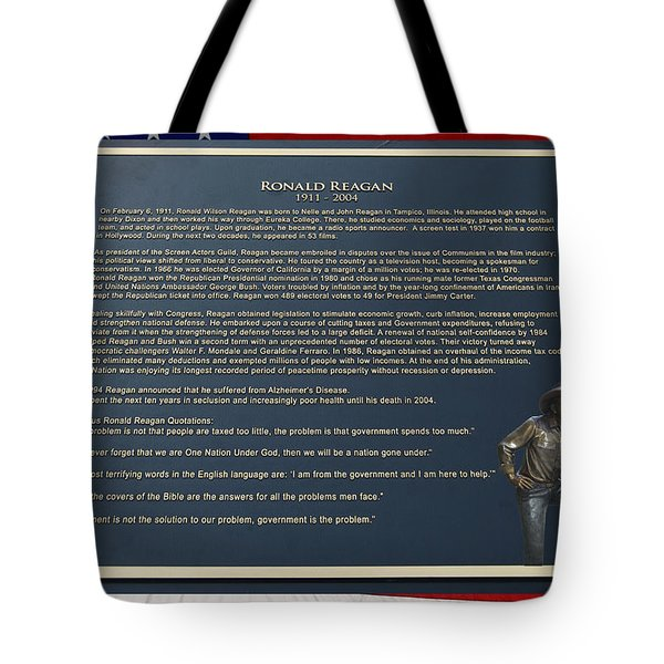 President Ronald Reagan Plaque Tote Bag by Thomas Woolworth