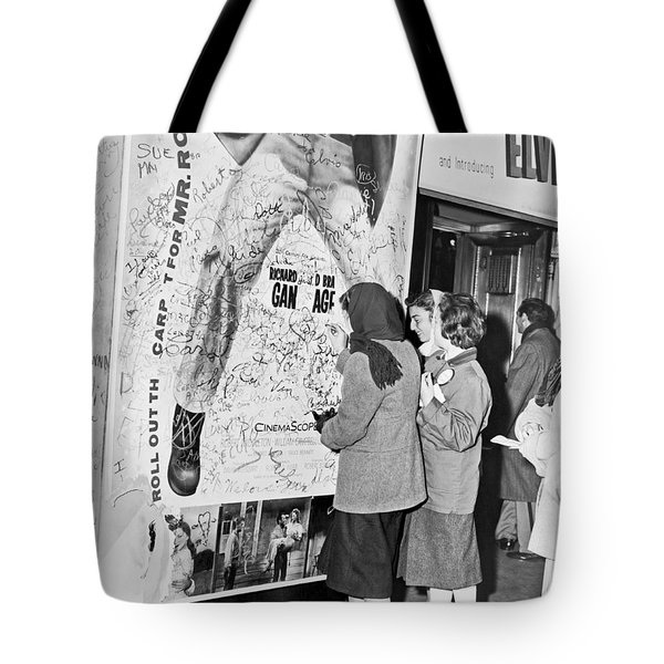 Presley Poster Grafitti Tote Bag by Underwood Archives