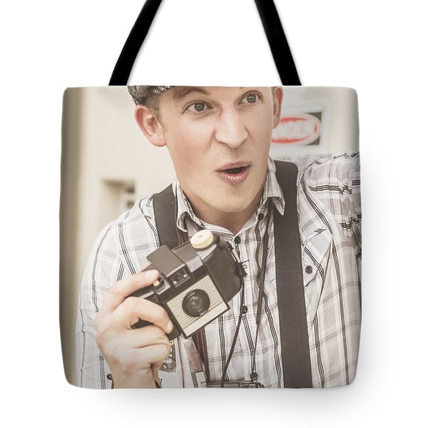 Press Photographer With Great Exposure Tote Bag