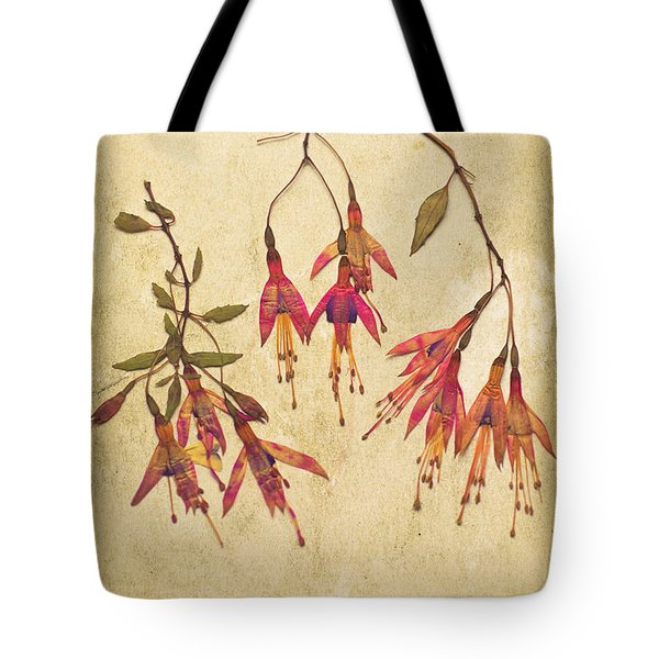 Pressed Fuchsia Flowers Tote Bag