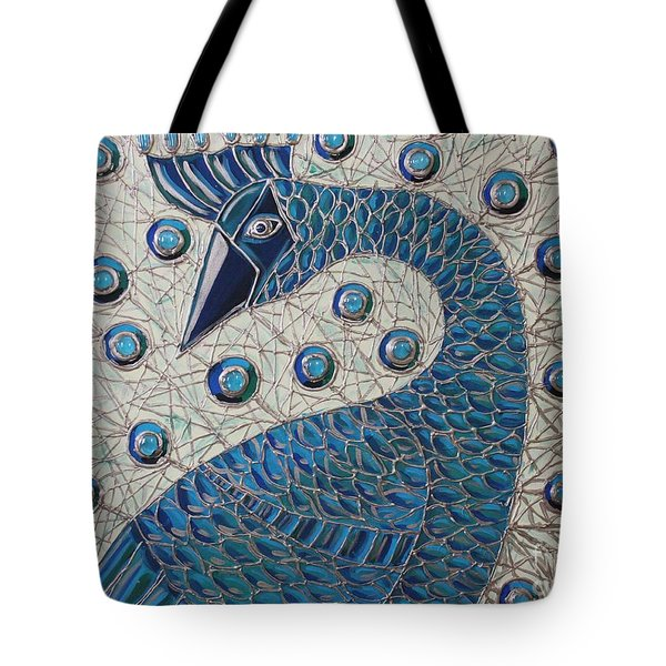 Tote Bag featuring the painting Pretty As A Peacock  by Cynthia Snyder