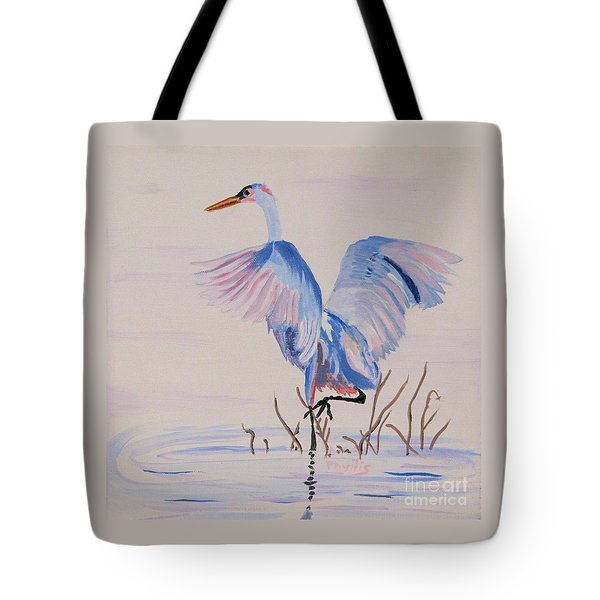 Tote Bag featuring the painting Pretty Crane by Phyllis Kaltenbach