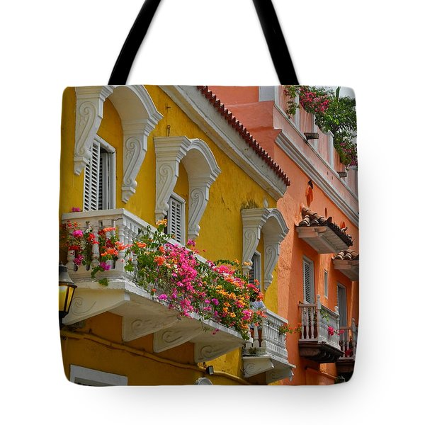 Pretty Dwellings In Old-town Cartagena Tote Bag by Kirsten Giving