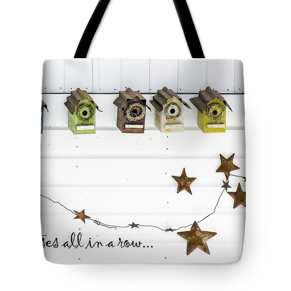 Tote Bag featuring the photograph Pretty Houses All In A Row-birdhouses by Betty Denise