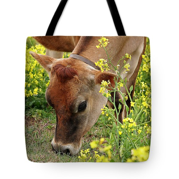 Pretty Jersey Cow Square Tote Bag