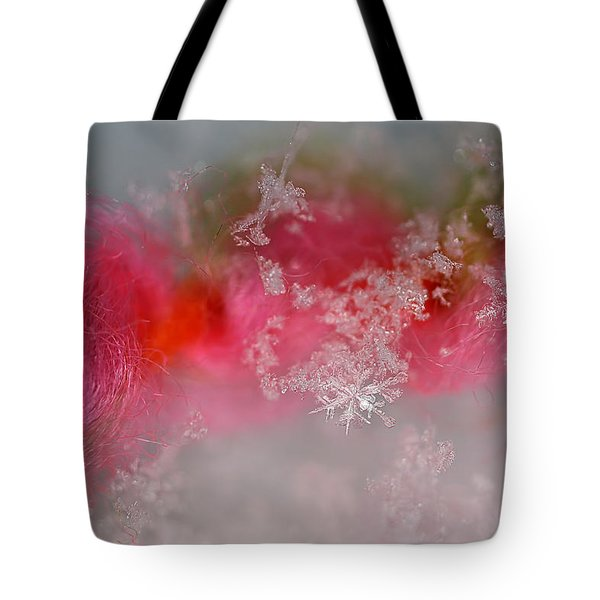 Tote Bag featuring the photograph Pretty Little Snowflakes by Lauren Radke