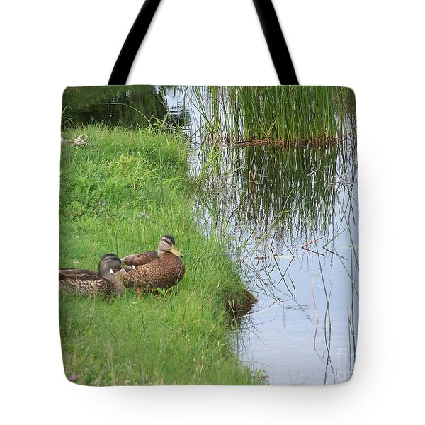 Mated Pair Of Ducks Tote Bag by Eunice Miller