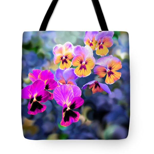 Pretty Pansies 3 Tote Bag by Bruce Nutting