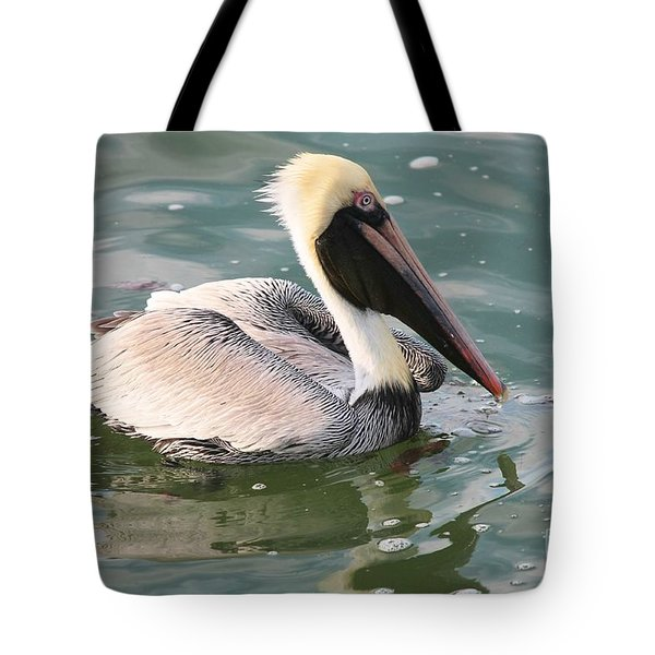 Pretty Pelican In Pond Tote Bag by Carol Groenen