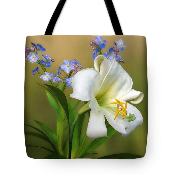 Pretty White Lily Tote Bag by Nina Bradica