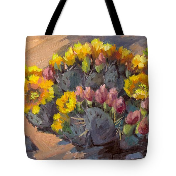 Prickly Pear Cactus In Bloom Tote Bag by Diane McClary