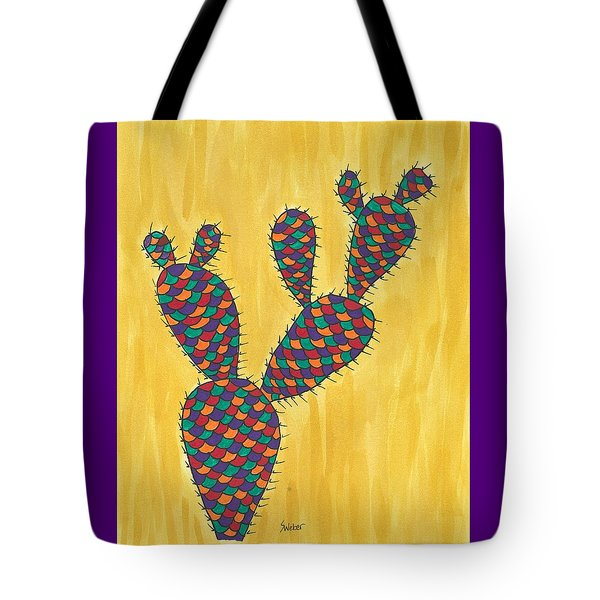 Tote Bag featuring the painting Prickly Pear Cactus Paradise by Susie Weber