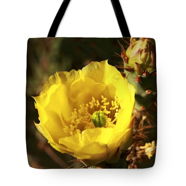 Tote Bag featuring the photograph Prickly Pear Flower by Alan Vance Ley