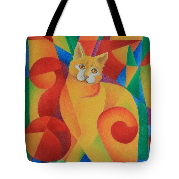 Primary Cat II Tote Bag by Pamela Clements