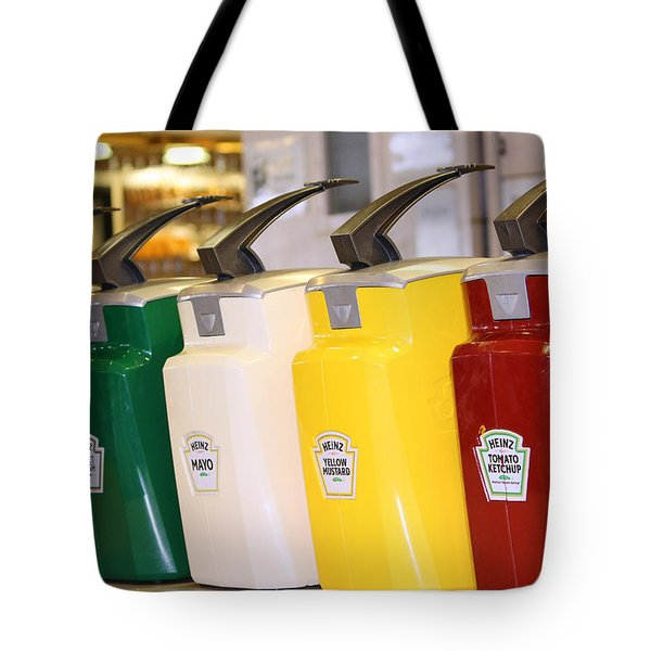 Primary Colors Of Condiments Tote Bag by Kym Backland