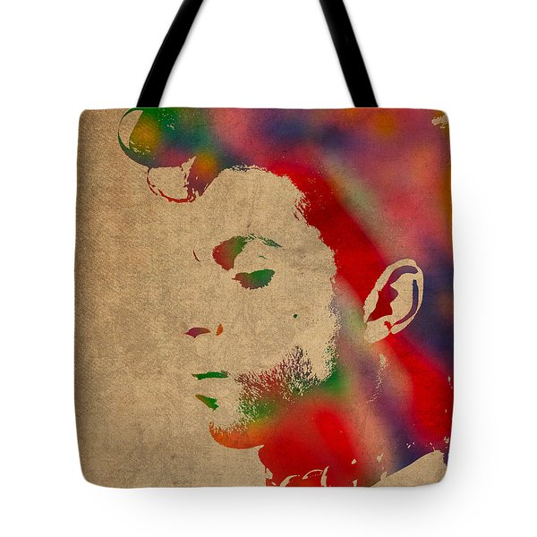 Prince Watercolor Portrait On Worn Distressed Canvas Tote Bag by Design Turnpike