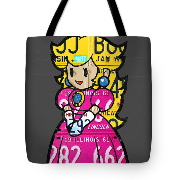 Princess Peach From Mario Brothers Nintendo Recycled License Plate Art Portrait Tote Bag by Design Turnpike