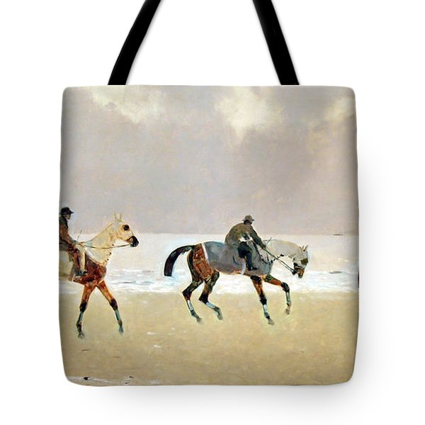 Princeteau's Riders On The Beach At Dieppe Tote Bag by Cora Wandel