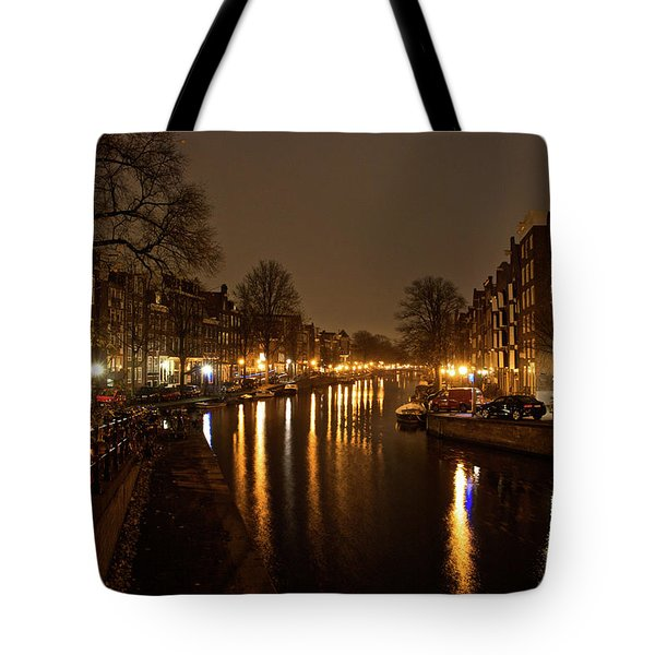 Prinsengracht Canal After Dark Tote Bag by Jonah  Anderson