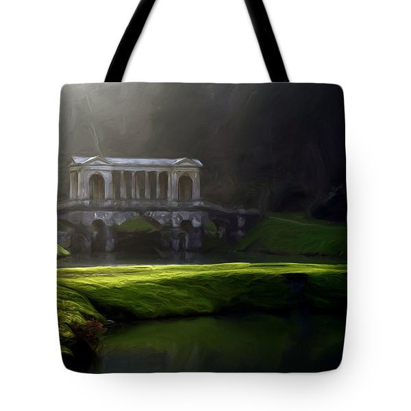 Tote Bag featuring the digital art Prior Park Bath by Ron Harpham