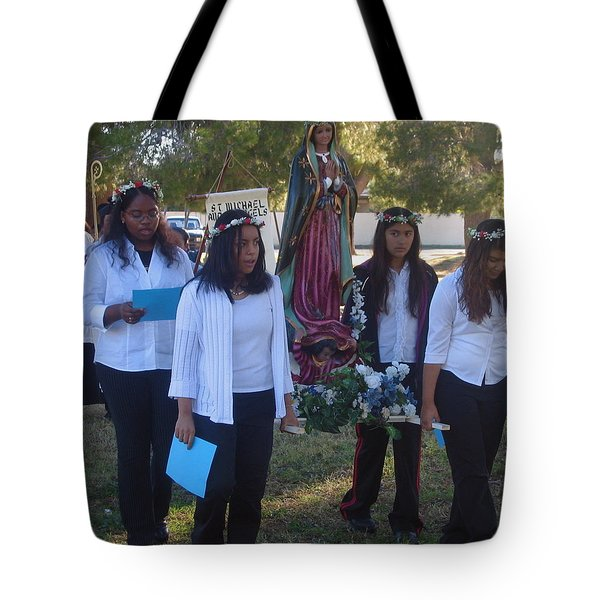 Procession With Statue Virgin Of Guadalupe St Michael And All Angels Liberal Catholic Church Casa Gr Tote Bag by David Lee Guss