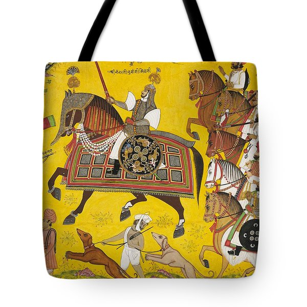 Processional Portrait Of Prince Bhawani Sing Of Sitamau Tote Bag by Pyara Singh
